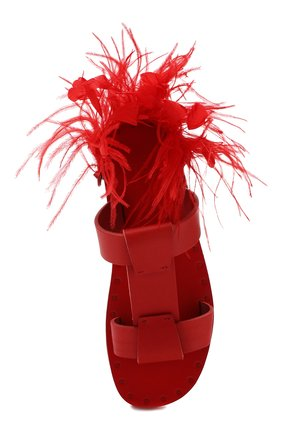 Кожаные шлепанцы Valentino Garavani Escape Valentino красные | Фото №5