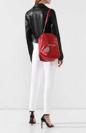 Сумка Teddy Saint Laurent красная цвета | Фото №2