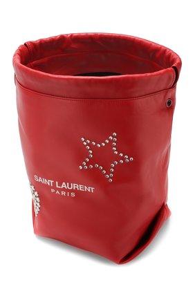 Сумка Teddy Saint Laurent красная цвета | Фото №4