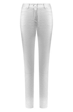 Женские кожаные брюки JITROIS серебряного цвета, арт. PANTAL0N WYNN AGNEAU STRETCH | Фото 1