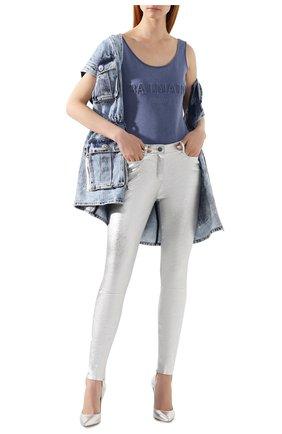 Женские кожаные брюки JITROIS серебряного цвета, арт. PANTAL0N WYNN AGNEAU STRETCH | Фото 2