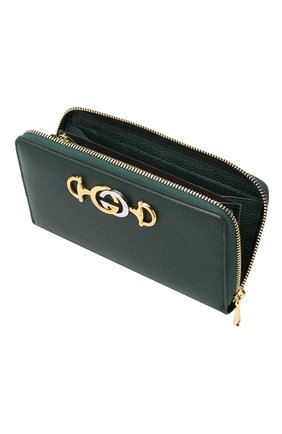 Кожаный кошелек Gucci Zumi Gucci зеленого цвета | Фото №3