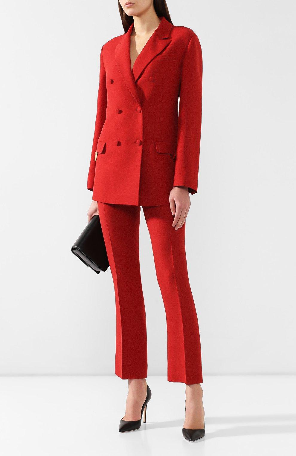 Жакет из смеси шерсти и шелка Valentino красный   Фото №2