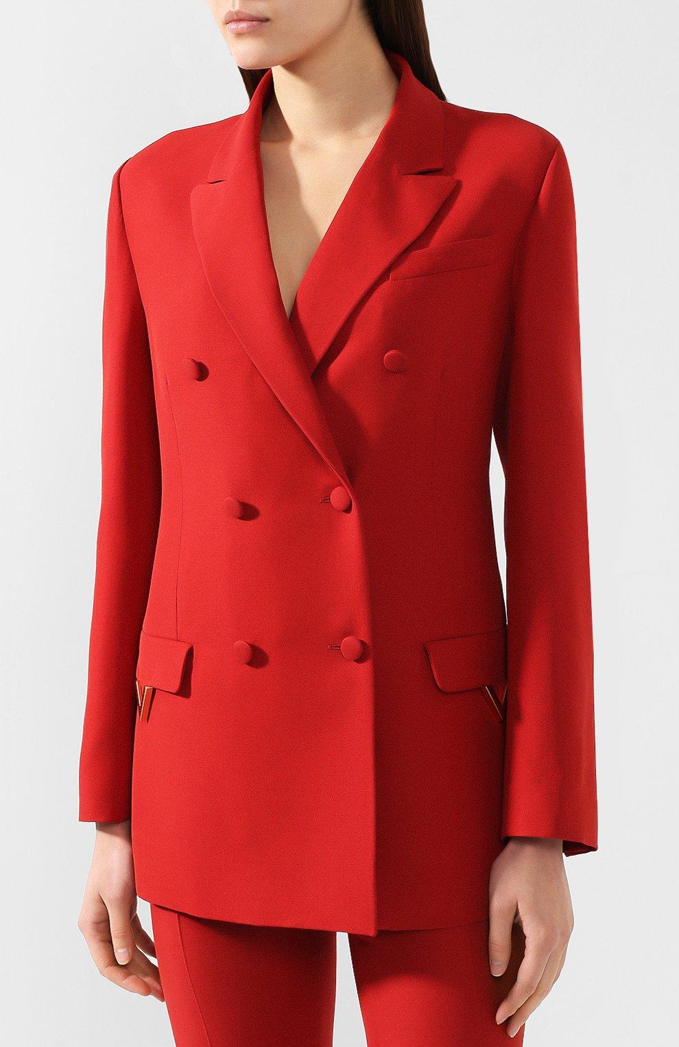 Жакет из смеси шерсти и шелка Valentino красный   Фото №3