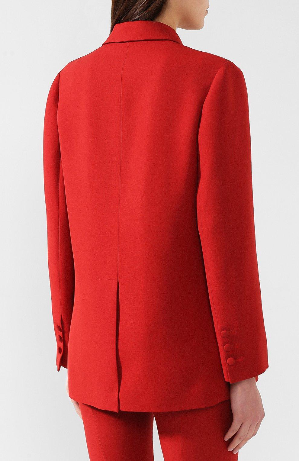 Жакет из смеси шерсти и шелка Valentino красный   Фото №4