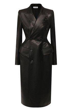 Двубортное пальто из кожи | Фото №1