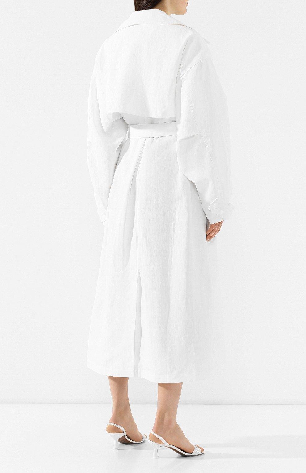Льняное пальто Jacquemus белого цвета | Фото №4