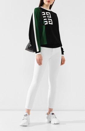 Пуловер из смеси шерсти и вискозы Givenchy зеленый | Фото №2