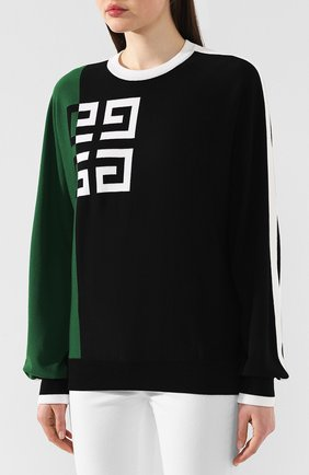 Пуловер из смеси шерсти и вискозы Givenchy зеленый | Фото №3