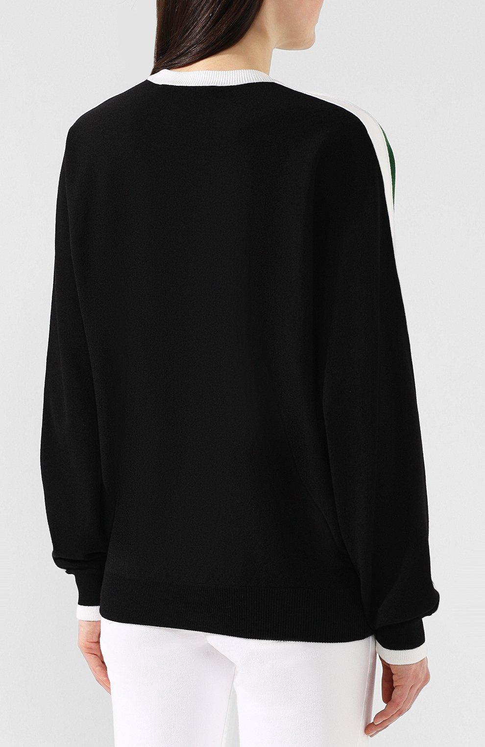 Пуловер из смеси шерсти и вискозы Givenchy зеленый | Фото №4