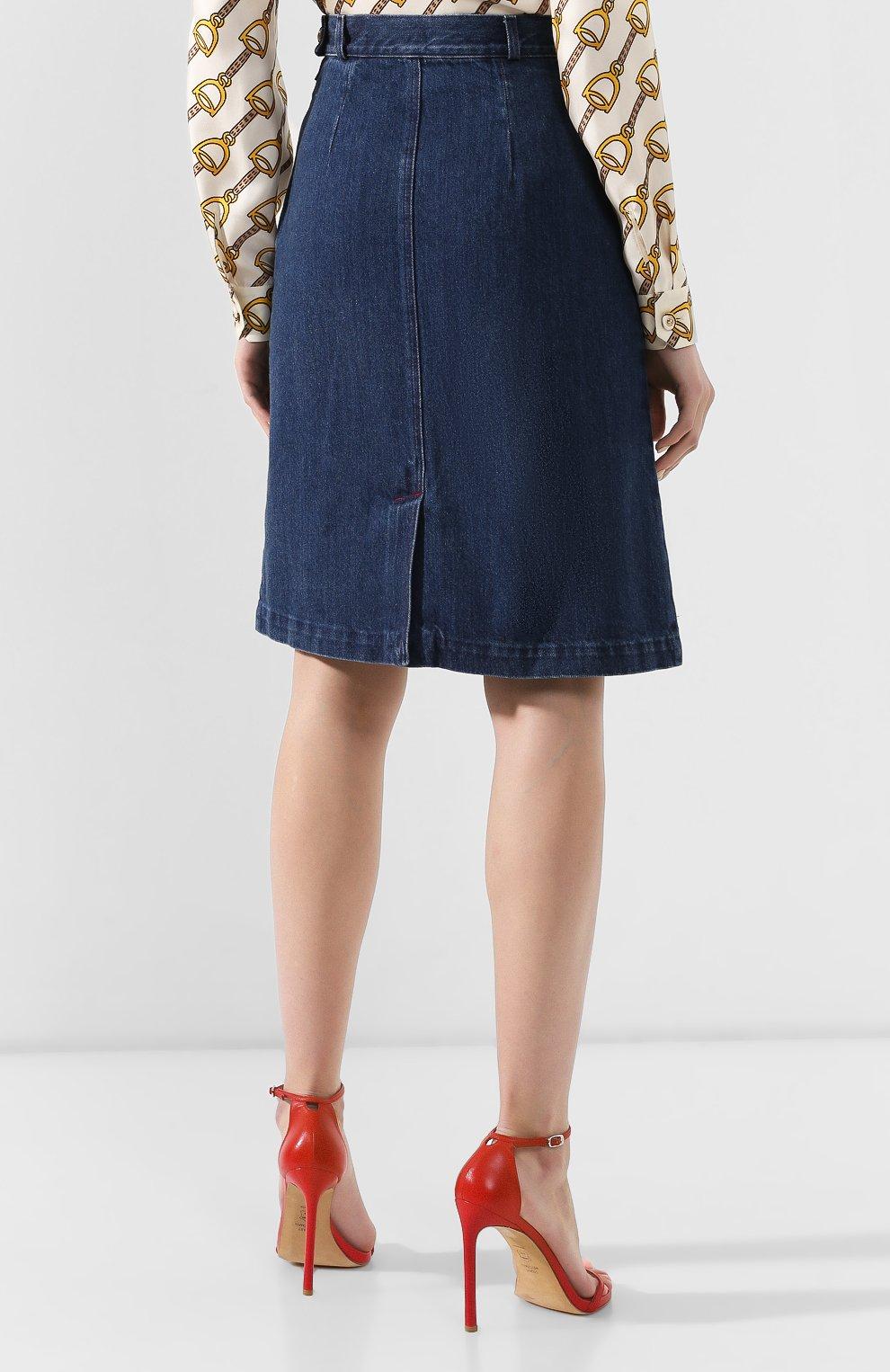 Джинсовая юбка Gucci синяя | Фото №4