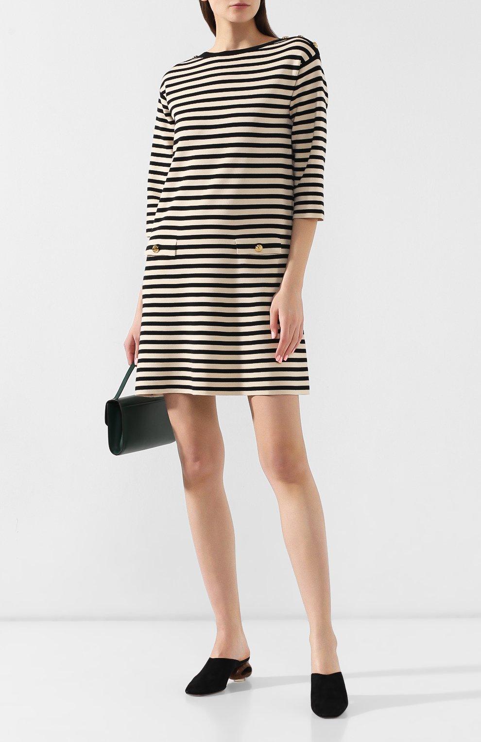 Шерстяное платье Gucci черно-белое | Фото №2