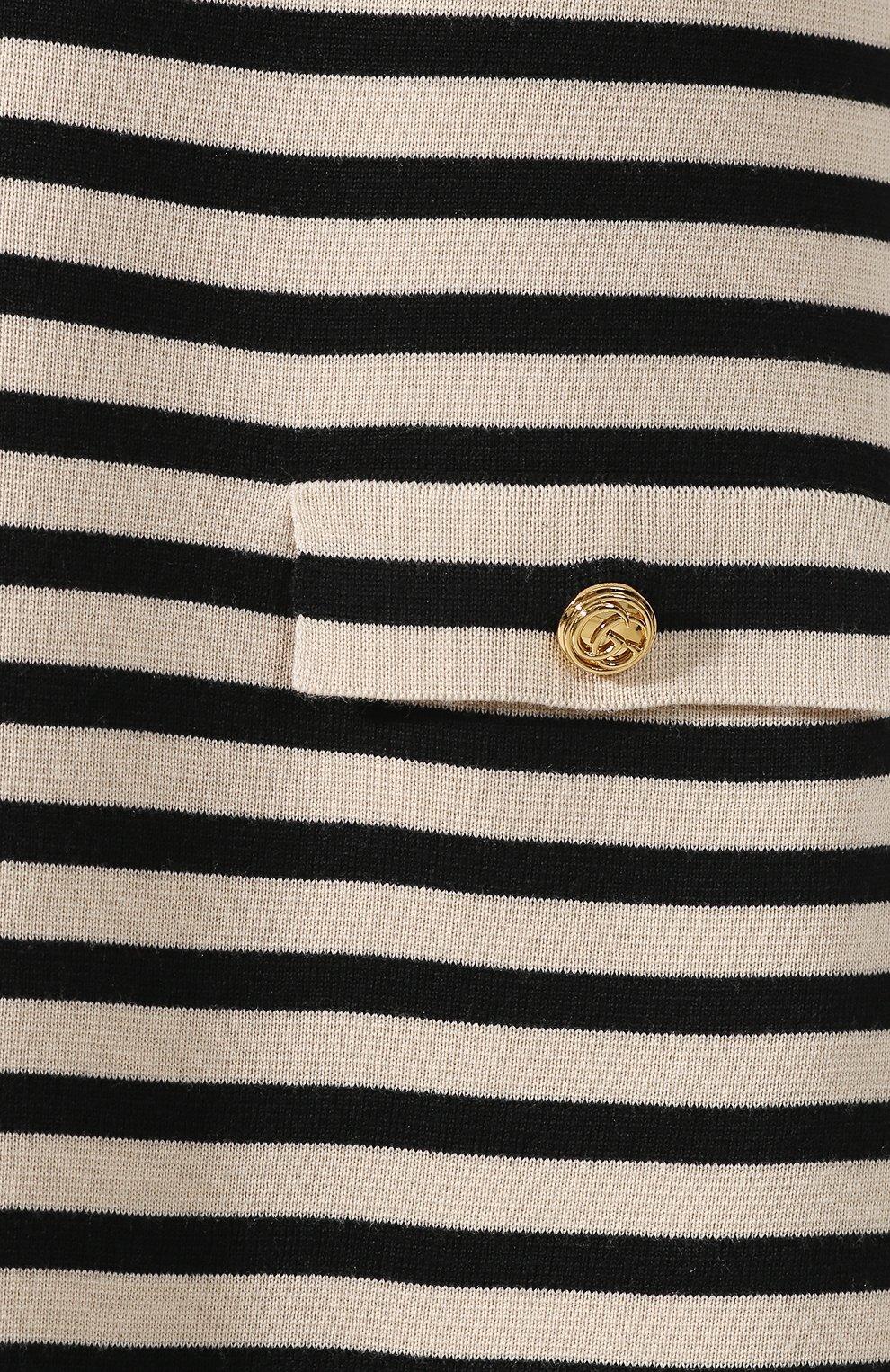 Шерстяное платье Gucci черно-белое | Фото №5