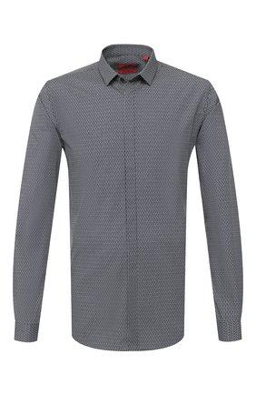 Мужская хлопковая сорочка HUGO темно-синего цвета, арт. 50409850 | Фото 1