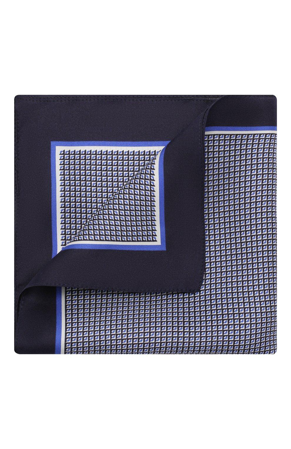 Мужской шелковый платок BOSS синего цвета, арт. 50412281 | Фото 1