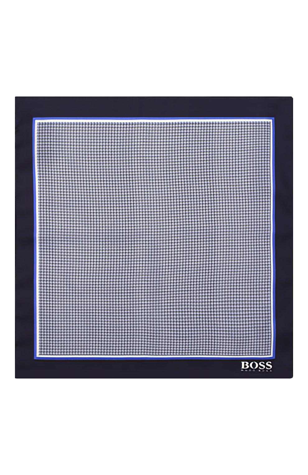 Мужской шелковый платок BOSS синего цвета, арт. 50412281 | Фото 3