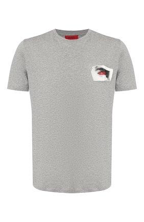 Мужская хлопковая футболка HUGO серого цвета, арт. 50410024 | Фото 1
