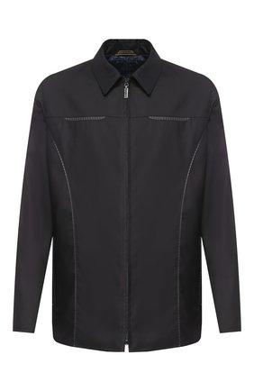 Мужская шерстяная куртка с отделкой из кожи ZILLI темно-синего цвета, арт. MAR-F4000-30305/1001   Фото 1
