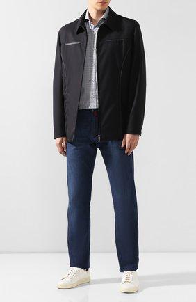 Мужская шерстяная куртка с отделкой из кожи ZILLI темно-синего цвета, арт. MAR-F4000-30305/1001   Фото 2