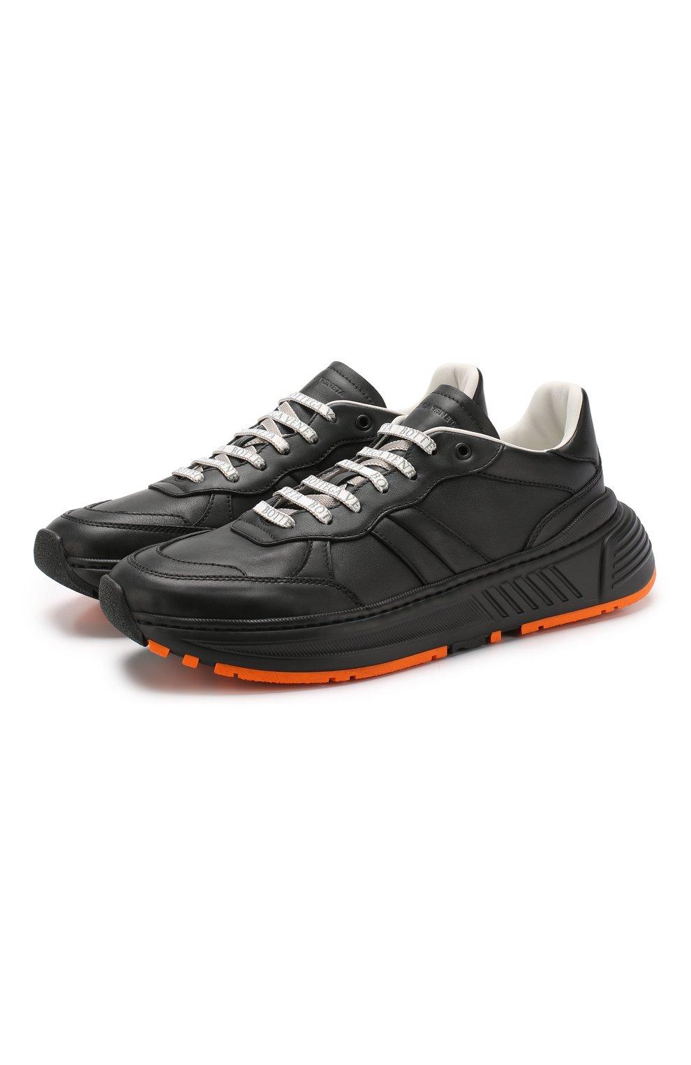 Мужские кожаные кроссовки BOTTEGA VENETA черного цвета, арт. 565646/VT040   Фото 1