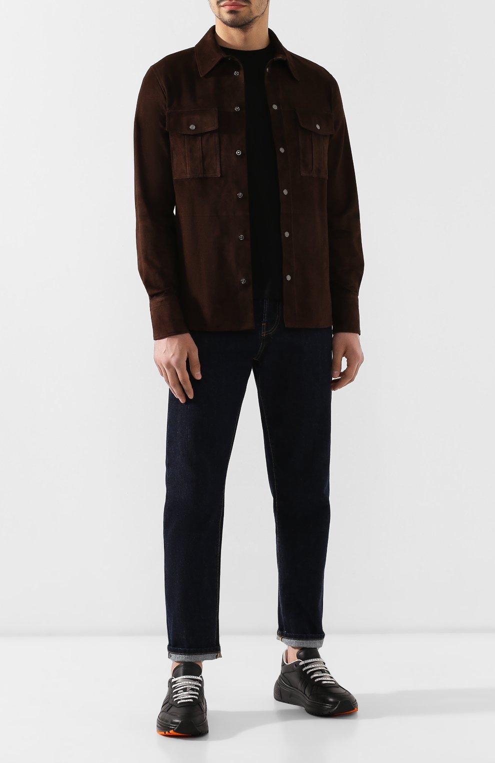 Мужские кожаные кроссовки BOTTEGA VENETA черного цвета, арт. 565646/VT040   Фото 2