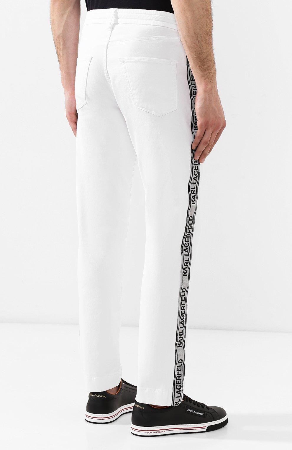 Джинсы Karl Lagerfeld denim белые | Фото №4