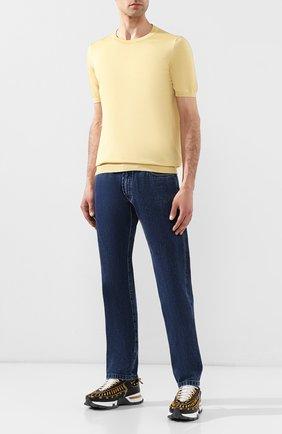 Мужской шелковый джемпер KITON желтого цвета, арт. UK1092 | Фото 2