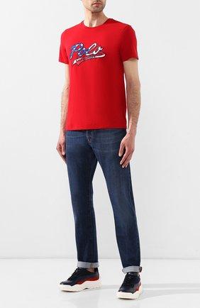 Мужская хлопковая футболка POLO RALPH LAUREN красного цвета, арт. 710755764 | Фото 2