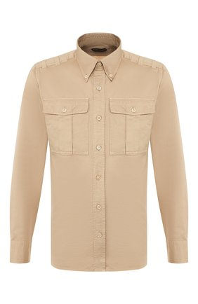 Мужская рубашка из смеси льна и хлопка TOM FORD бежевого цвета, арт. 5FT879/94WHAA | Фото 1