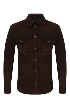 Мужская замшевая рубашка TOM FORD темно-коричневого цвета, арт. BS498/TFL644 | Фото 1