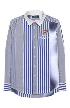 Детская хлопковая рубашка POLO RALPH LAUREN голубого цвета, арт. 323737263 | Фото 1