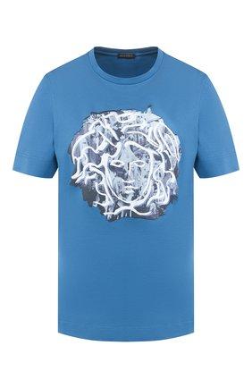 Хлопковая футболка Versace синяя | Фото №1