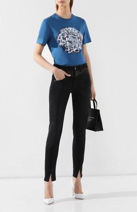 Хлопковая футболка Versace синяя | Фото №2