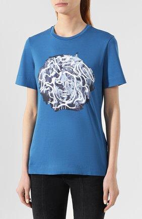 Хлопковая футболка Versace синяя | Фото №3