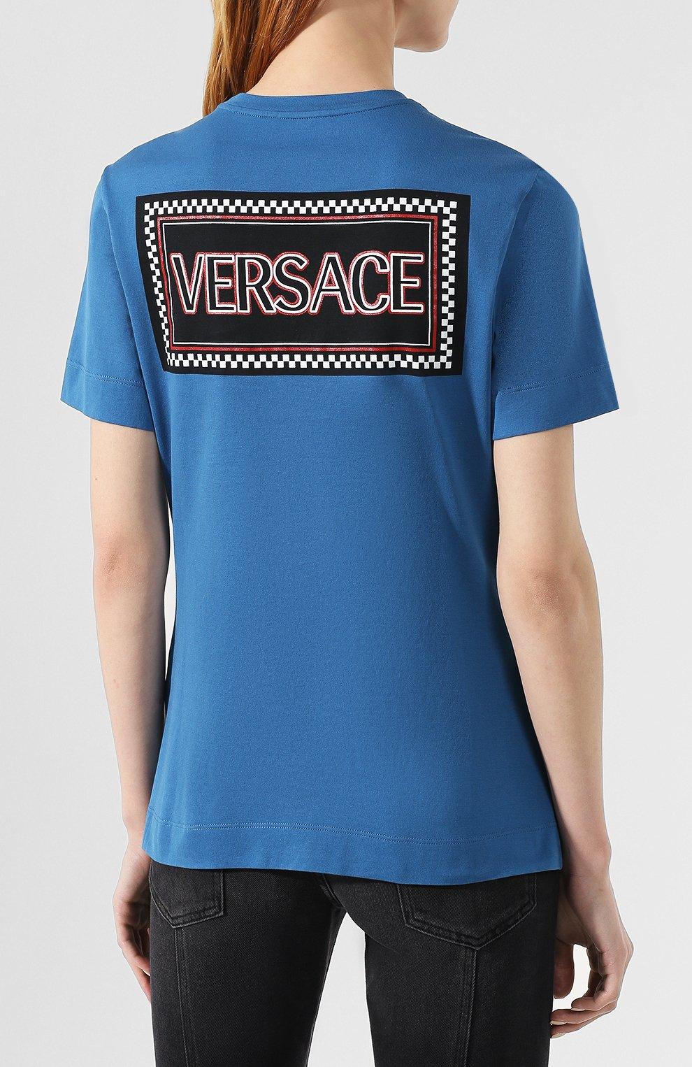 Хлопковая футболка Versace синяя | Фото №4