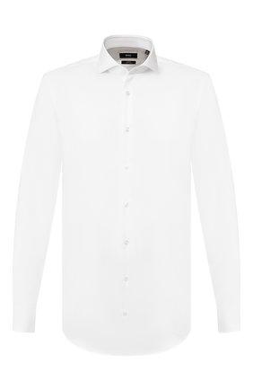 Мужская хлопковая сорочка BOSS белого цвета, арт. 50413744 | Фото 1