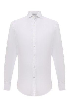Мужская хлопковая рубашка BRUNELLO CUCINELLI белого цвета, арт. MG6710028 | Фото 1