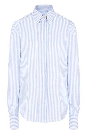 Блуза из смеси хлопка и льна в полоску | Фото №1