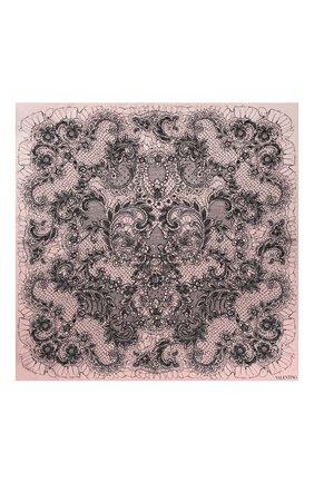 Шелковый платок Valentino розовый | Фото №3