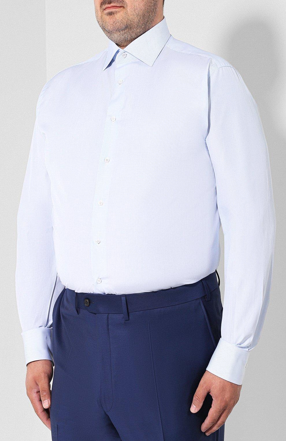 Мужская хлопковая сорочка BRIONI голубого цвета, арт. RCL41G/PZ007 | Фото 3