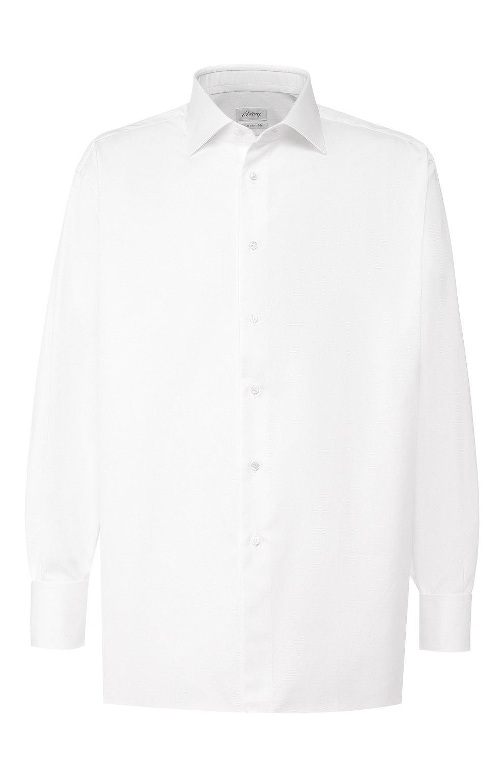 Мужская хлопковая сорочка BRIONI белого цвета, арт. RCL416/P703W | Фото 1