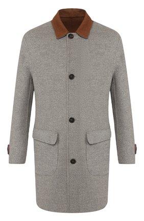 Мужской двустороннее пальто из кашемира BRUNELLO CUCINELLI светло-серого цвета, арт. ML4549947 | Фото 1