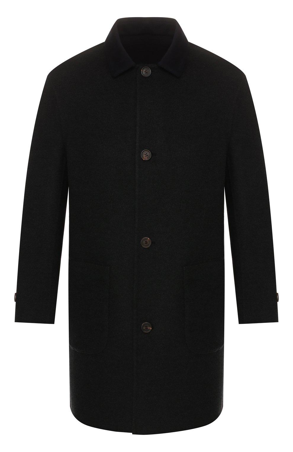 Мужской двустороннее кашемировое пальто BRUNELLO CUCINELLI темно-серого цвета, арт. ML4549947   Фото 1 (Материал внешний: Шерсть, Кашемир; Рукава: Длинные; Длина (верхняя одежда): До середины бедра; Мужское Кросс-КТ: Верхняя одежда, пальто-верхняя одежда; Стили: Кэжуэл; Статус проверки: Проверена категория)