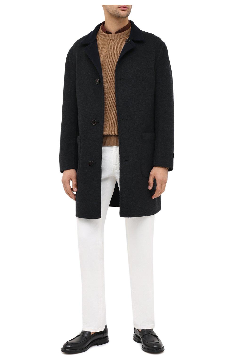 Мужской двустороннее кашемировое пальто BRUNELLO CUCINELLI темно-серого цвета, арт. ML4549947   Фото 2 (Материал внешний: Шерсть, Кашемир; Рукава: Длинные; Длина (верхняя одежда): До середины бедра; Мужское Кросс-КТ: Верхняя одежда, пальто-верхняя одежда; Стили: Кэжуэл; Статус проверки: Проверена категория)