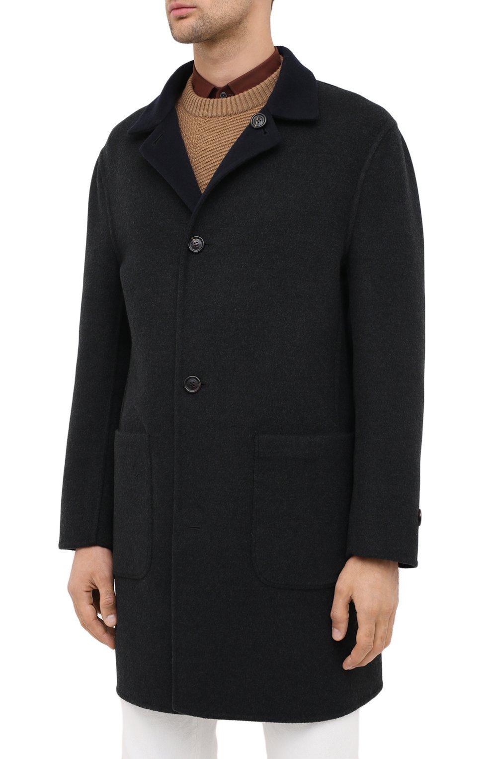 Мужской двустороннее кашемировое пальто BRUNELLO CUCINELLI темно-серого цвета, арт. ML4549947   Фото 4 (Материал внешний: Шерсть, Кашемир; Рукава: Длинные; Длина (верхняя одежда): До середины бедра; Мужское Кросс-КТ: Верхняя одежда, пальто-верхняя одежда; Стили: Кэжуэл; Статус проверки: Проверена категория)