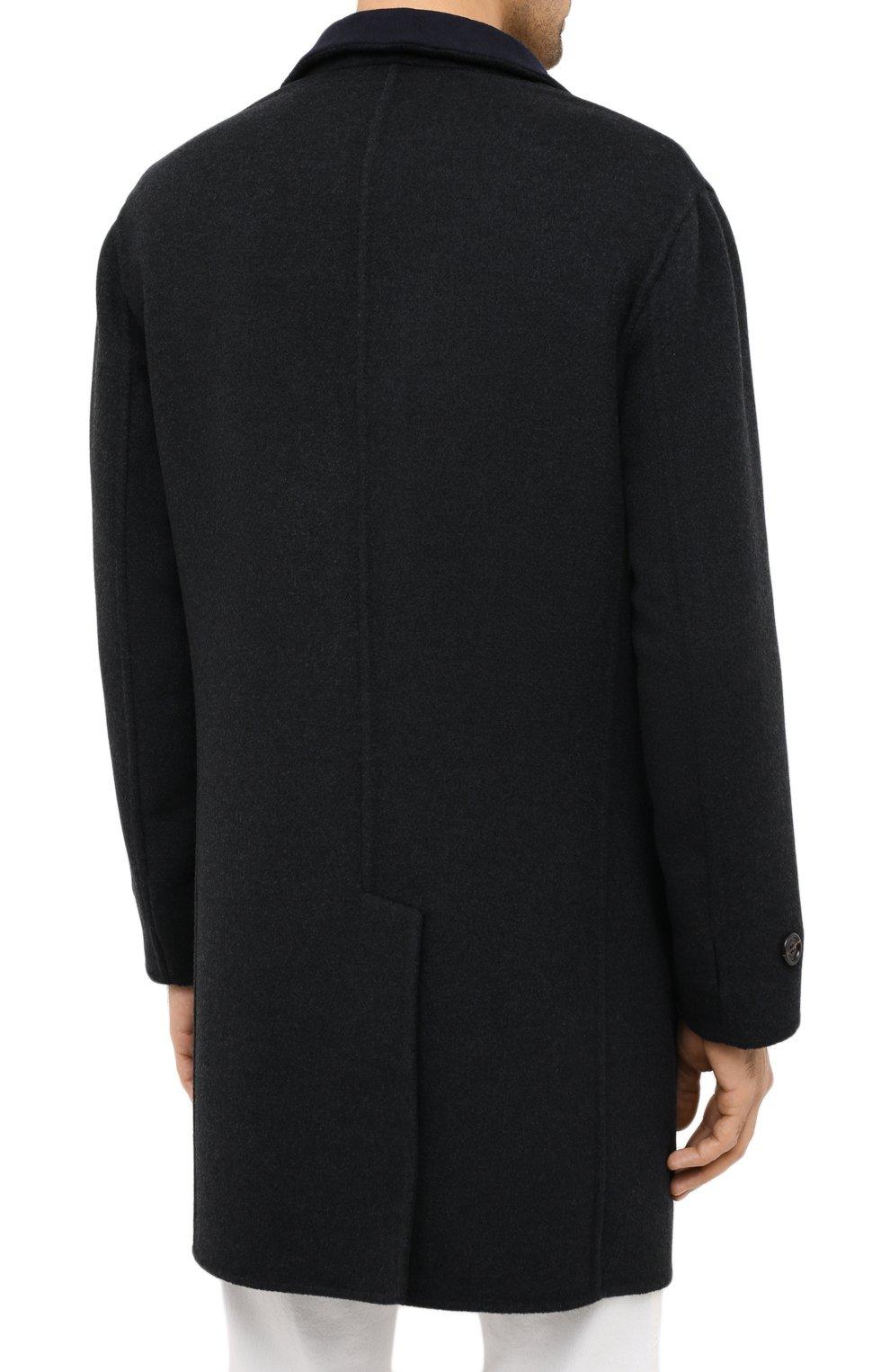 Мужской двустороннее кашемировое пальто BRUNELLO CUCINELLI темно-серого цвета, арт. ML4549947   Фото 5 (Материал внешний: Шерсть, Кашемир; Рукава: Длинные; Длина (верхняя одежда): До середины бедра; Мужское Кросс-КТ: Верхняя одежда, пальто-верхняя одежда; Стили: Кэжуэл; Статус проверки: Проверена категория)