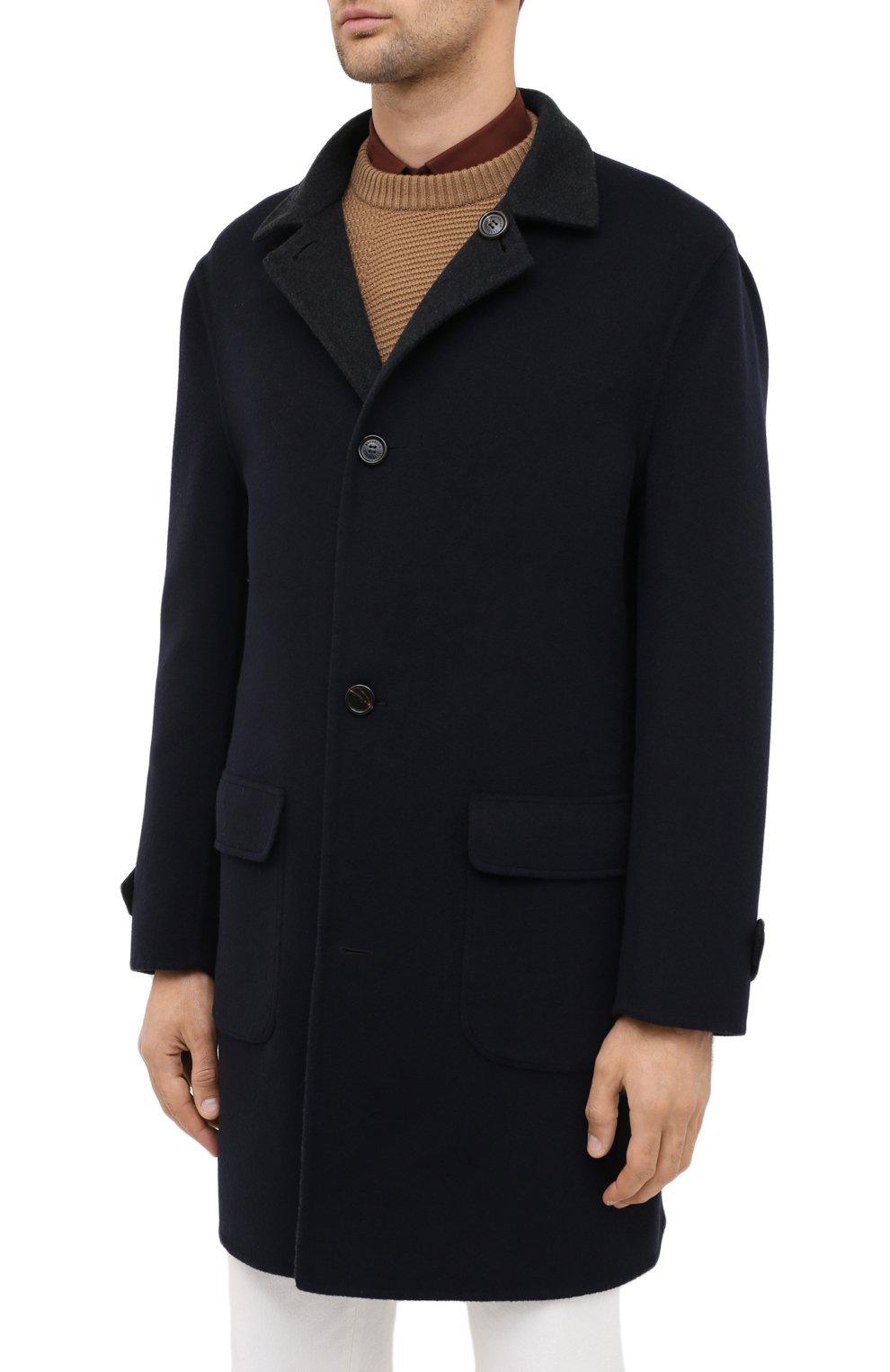 Мужской двустороннее кашемировое пальто BRUNELLO CUCINELLI темно-серого цвета, арт. ML4549947   Фото 7 (Материал внешний: Шерсть, Кашемир; Рукава: Длинные; Длина (верхняя одежда): До середины бедра; Мужское Кросс-КТ: Верхняя одежда, пальто-верхняя одежда; Стили: Кэжуэл; Статус проверки: Проверена категория)