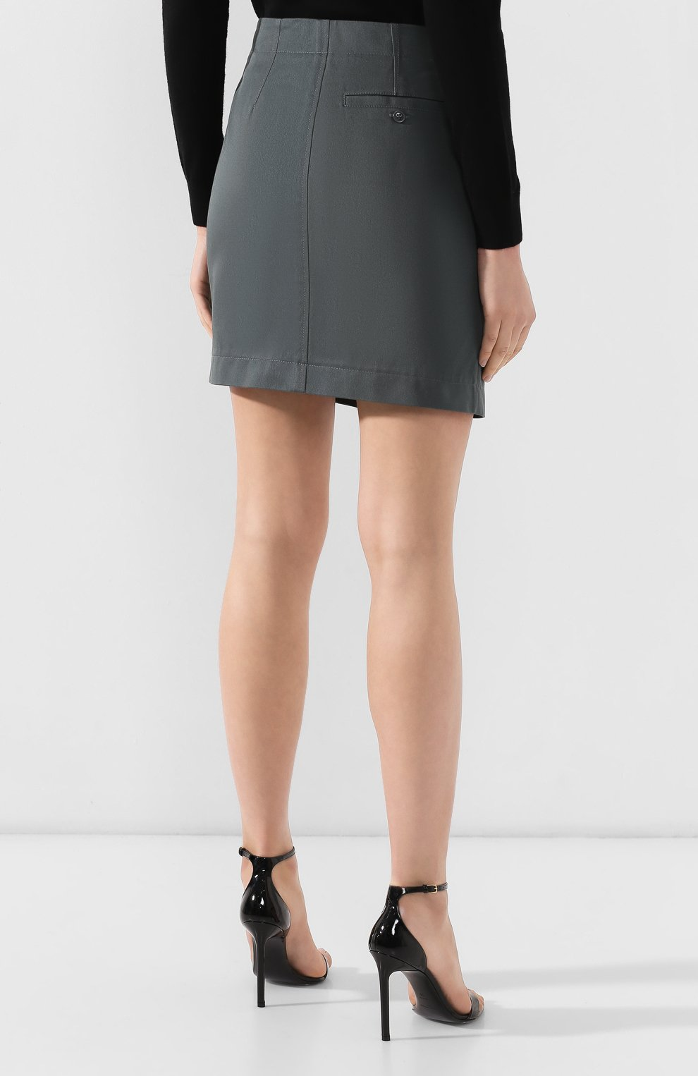 Хлопковая юбка Givenchy темно-зеленая | Фото №4