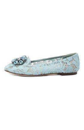 Женские текстильные слиперы rainbow lace DOLCE & GABBANA голубого цвета, арт. 0112/CP0010/AL198 | Фото 2