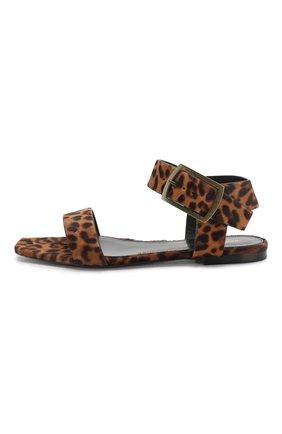 Кожаные сандалии Saint Laurent коричневые | Фото №3